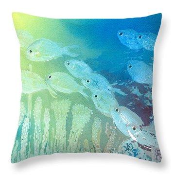 Underwater School Throw Pillow by Arline Wagner