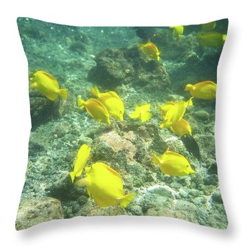 Underwater Yellow Tang Throw Pillow