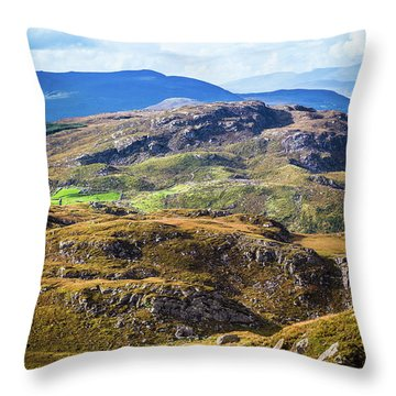 Throw Pillow featuring the photograph Undulating Green, Purple And Yellow Rocky Landscape In  Ireland by Semmick Photo