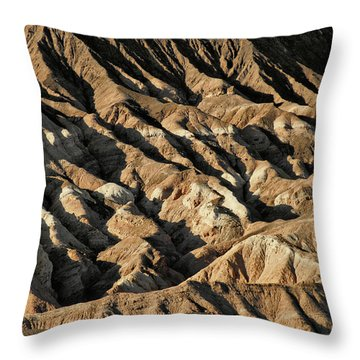 Unearthly World - Death Valley's Badlands Throw Pillow by Christine Till