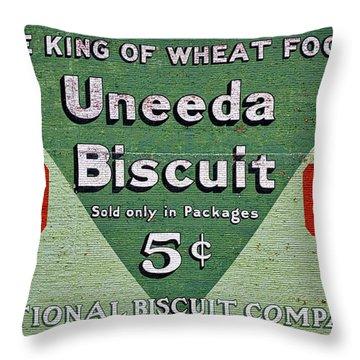 Uneeda Biscuit Vintage Sign Throw Pillow