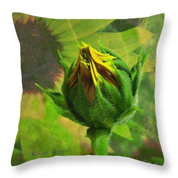 Unfolding Sunflower Throw Pillow