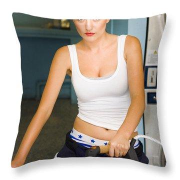 Unhappy Housewife Throw Pillow