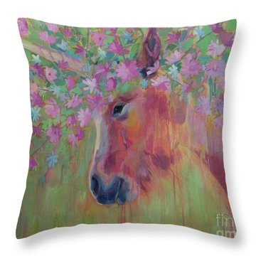 Uni Corn Flower II Throw Pillow