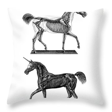 Unicorn Anatomy Throw Pillow