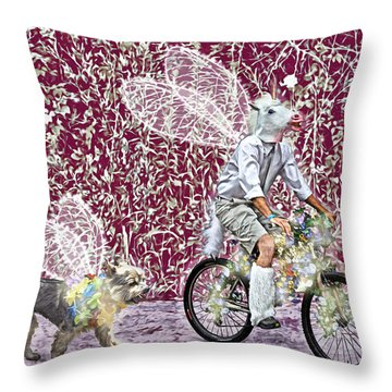 Unicorn And Doggie Fairies Throw Pillow