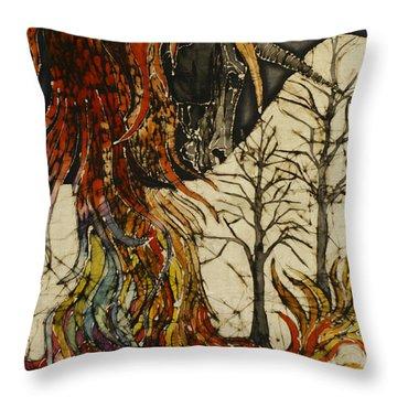 Unicorn And Phoenix Throw Pillow by Carol  Law Conklin