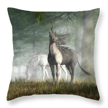 Unicorn Throw Pillow by Daniel Eskridge