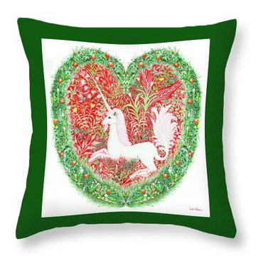 Unicorn Heart With Millefleurs Throw Pillow by Lise Winne