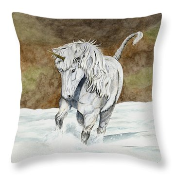 Unicorn Icelandic Throw Pillow by Shari Nees