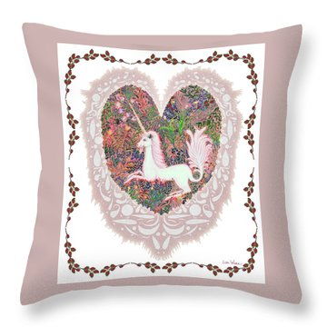 Unicorn In A Pink Heart Throw Pillow by Lise Winne