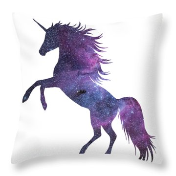 Unicorn In Space-transparent Background Throw Pillow