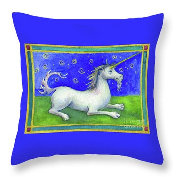 Throw Pillow featuring the painting Unicorn by Lora Serra