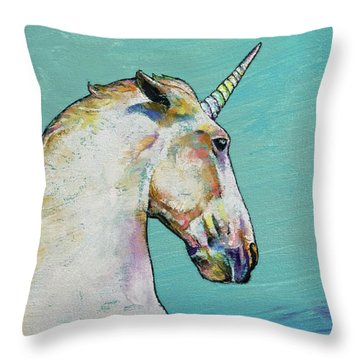 Unicorn Throw Pillow by Michael Creese