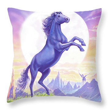 Unicorn Moon Text Throw Pillow