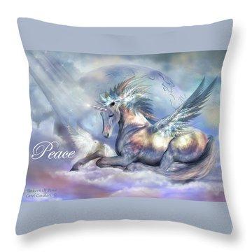 Unicorn Of Peace Card Throw Pillow by Carol Cavalaris