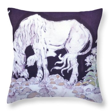 Unicorn Pauses Throw Pillow by Carol  Law Conklin