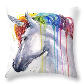Unicorn Rainbow Watercolor Throw Pillow