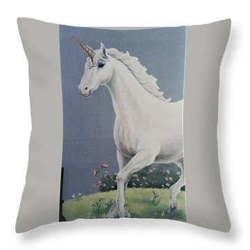 Unicorn Roaming The Grass And Flowers Throw Pillow