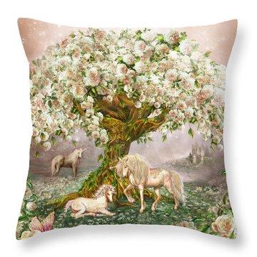 Throw Pillow featuring the mixed media Unicorn Rose Tree by Carol Cavalaris