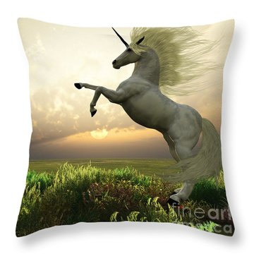 Unicorn Stag Throw Pillow by Corey Ford