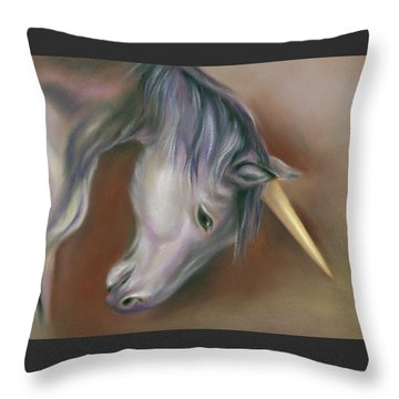 Unicorn With A Golden Horn Throw Pillow