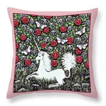 Unicorn With Red Roses And Butterflies Throw Pillow