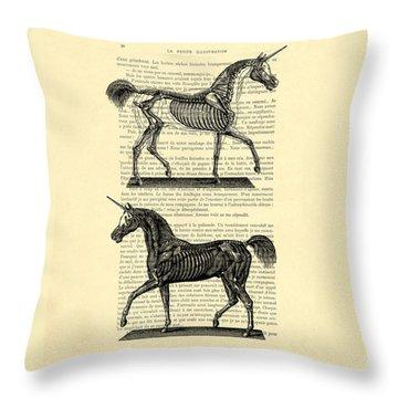 Unicorns Anatomy Throw Pillow by Madame Memento