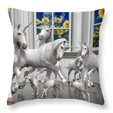 Unicorns Throw Pillow by Betsy Knapp
