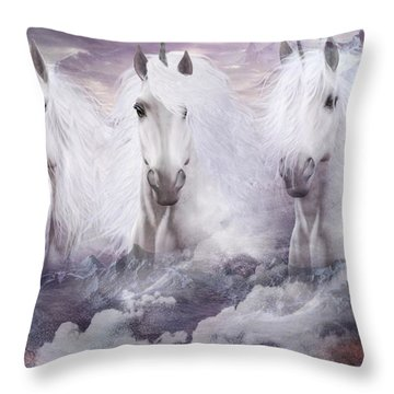 Unicorns Of The Mountains Throw Pillow