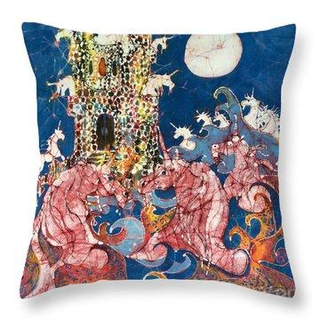 Unicorns Take Castle Throw Pillow