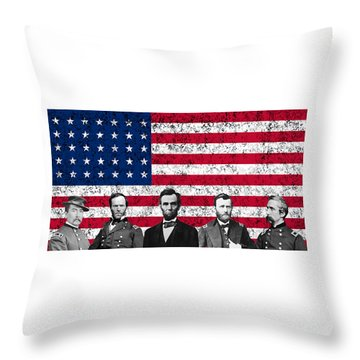 Union Heroes And The American Flag Throw Pillow