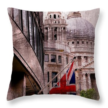 Union Jack By St. Paul's Cathdedral Throw Pillow