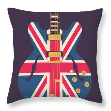 Union Jack Guitar - Original Black Throw Pillow