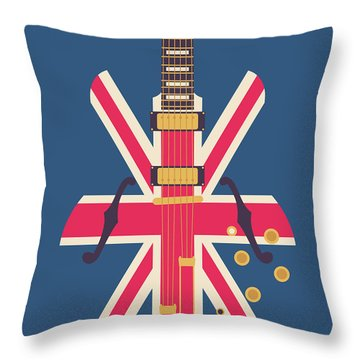 Union Jack Guitar - Original Blue Throw Pillow