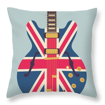 Union Jack Guitar - Original Grey Throw Pillow