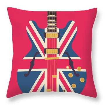 Union Jack Guitar - Original Red Throw Pillow