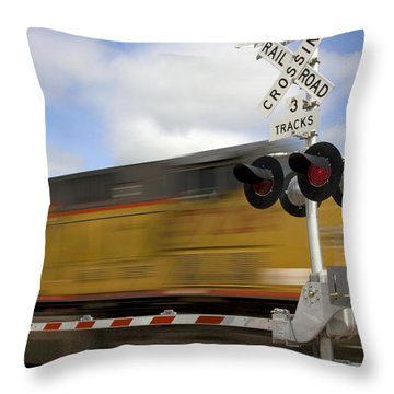 Union Pacific Coal Train Throw Pillow by David R Frazier and Photo Researchers