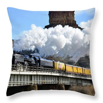 Union Pacific Steam Engine 844 And Castle Rock Throw Pillow by Eric Nielsen