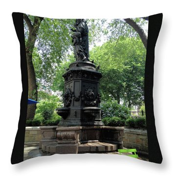Throw Pillow featuring the photograph Union Square Park Water Fountain by Iowan Stone-Flowers