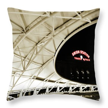 Throw Pillow featuring the photograph Union Station Denver by Marilyn Hunt
