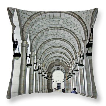 Throw Pillow featuring the photograph Union Station Exterior Archway by Suzanne Stout