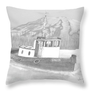 Throw Pillow featuring the drawing Tugboat Union by Terry Frederick