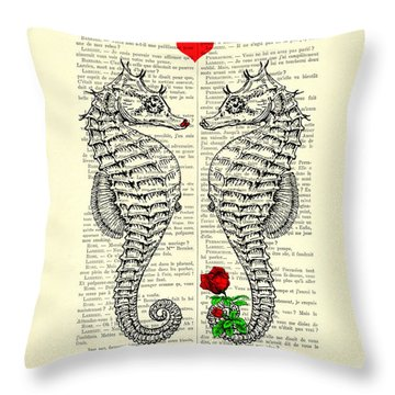 Unique Valentines Day Gift Ideas, Seahorses Throw Pillow