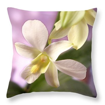 Unique White Orchid Throw Pillow by Mike McGlothlen
