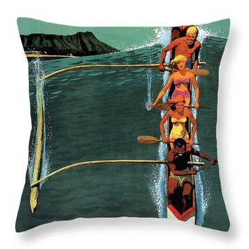 United Air Lines To Hawaii - Riding With Outrigger - Retro Travel Poster - Vintage Poster Throw Pillow