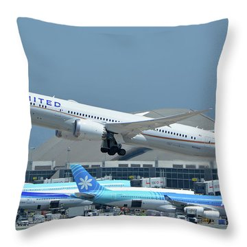 Throw Pillow featuring the photograph United Boeing 787-9 N27965 Los Angeles International Airport May 3 2016 by Brian Lockett