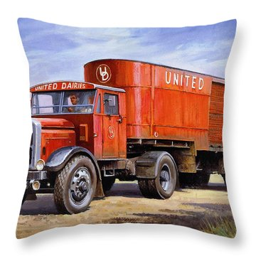 United Dairies Scammell. Throw Pillow by Mike  Jeffries