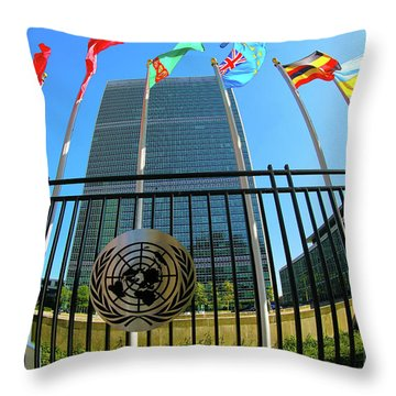United Nations Secretariat Building  Throw Pillow by Mitch Cat