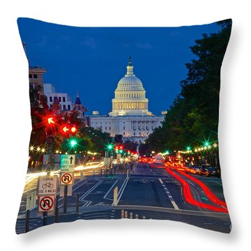 United States Capitol Along Pennsylvania Avenue In Washington, D.c.   Throw Pillow